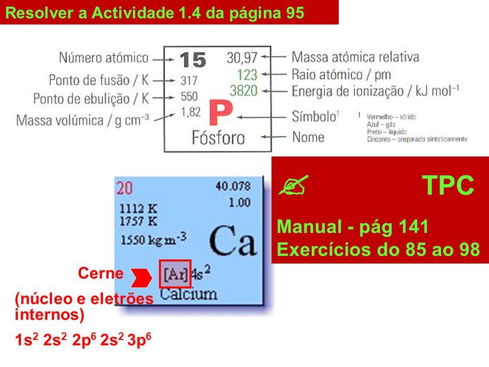 Resolver a Actividade 1.4 da página 95 Cerne (núcleo e eletrões internos) 1s 2 2s 2 2p 6 2s 2 3p 6  TPC Manual - pág 141 Exercícios do 85 ao 98