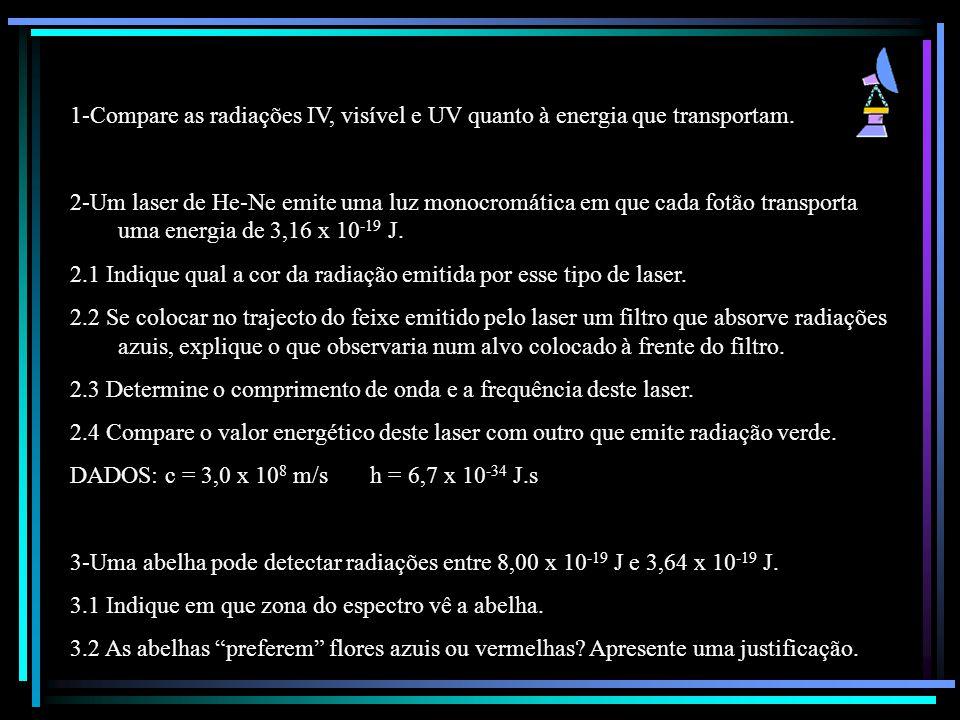 1-Compare as radiações IV, visível e UV quanto à energia que transportam. 2-Um laser de He-Ne emite uma luz monocromática em que cada fotão transporta