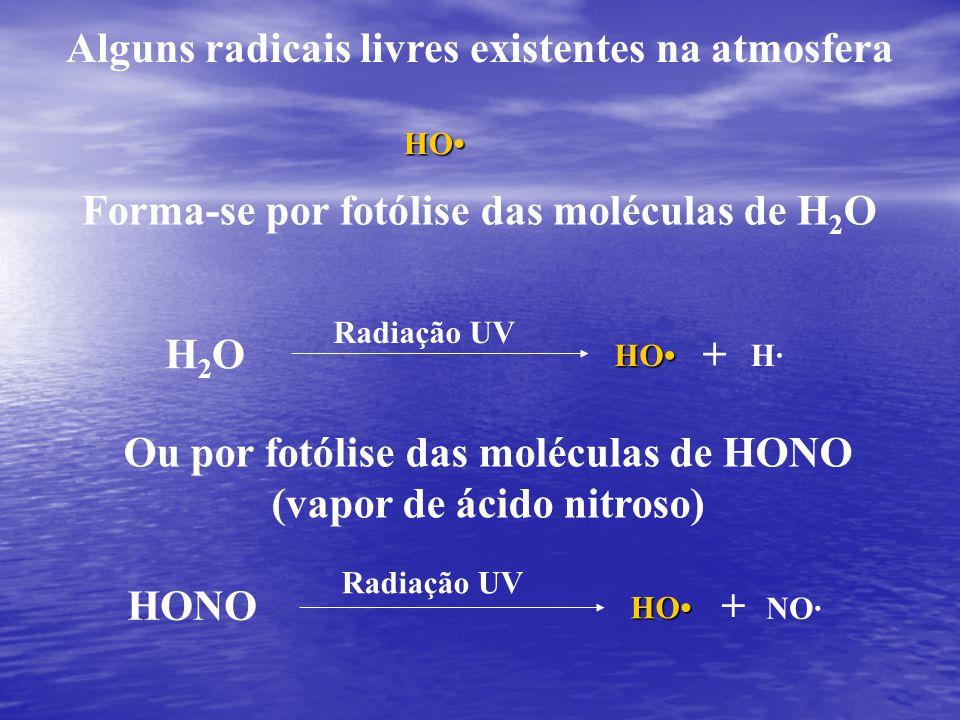 Alguns radicais livres existentes na atmosfera HO Forma-se por fotólise das moléculas de H 2 O H2OH2O+ HOH· Radiação UV Ou por fotólise das moléculas de HONO (vapor de ácido nitroso) HONO+ HO NO· Radiação UV