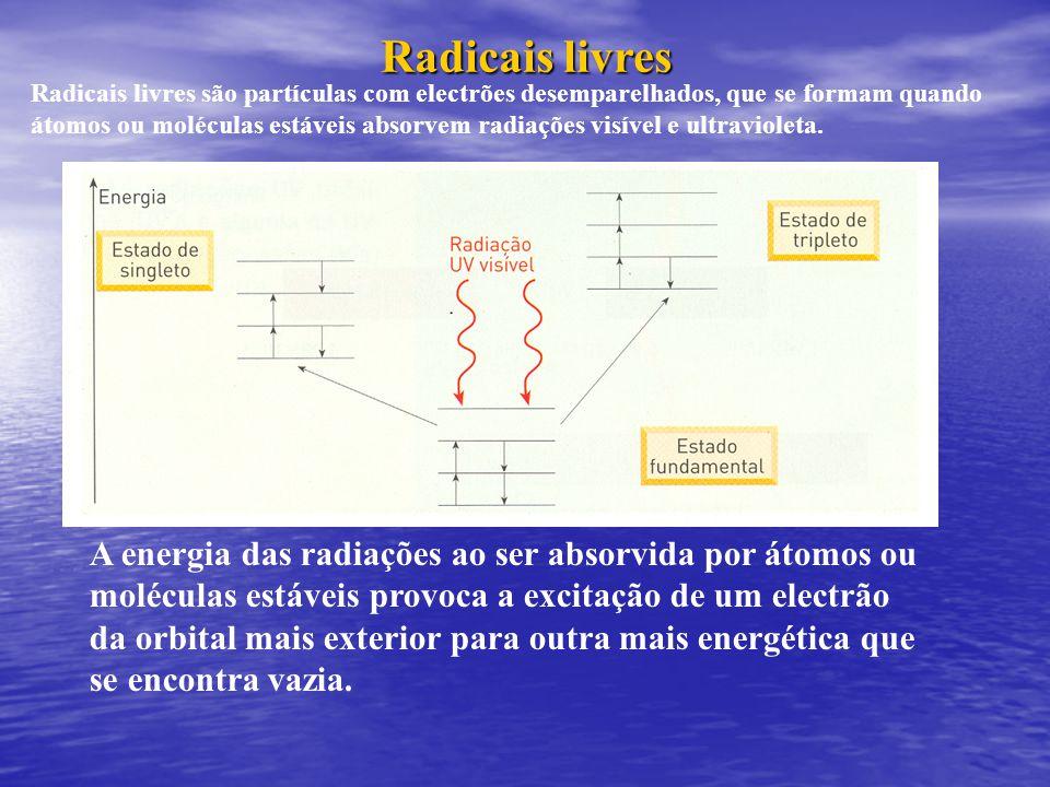 O electrão excitado pode manter o seu spin (estado de singleto) ou inverter o seu spin (estado de tripleto = radical livre).