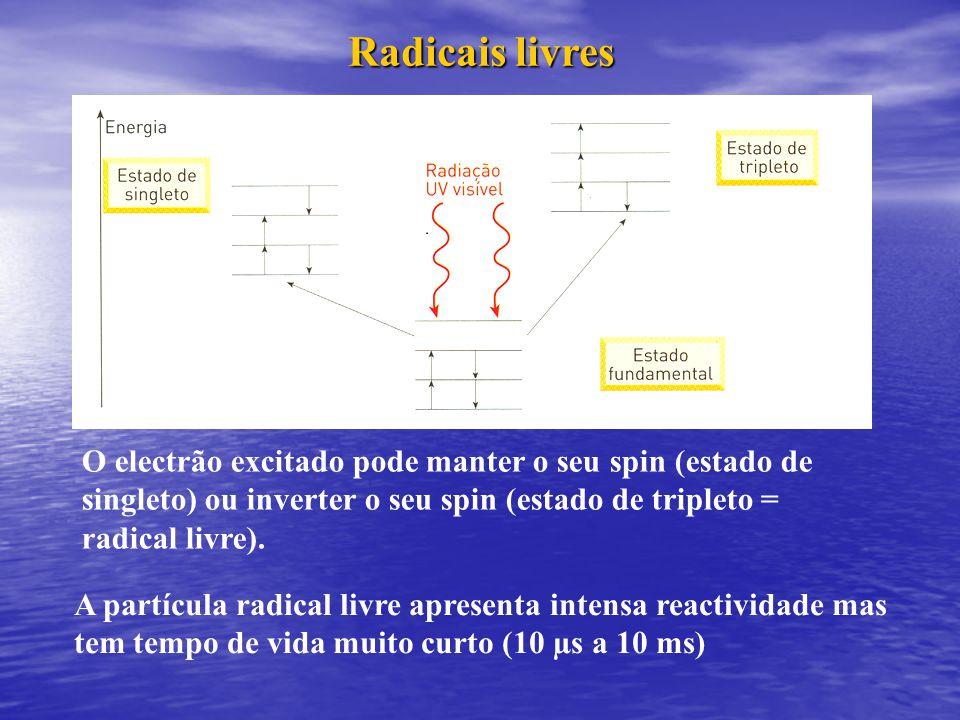 O electrão excitado pode manter o seu spin (estado de singleto) ou inverter o seu spin (estado de tripleto = radical livre). Radicais livres A partícu