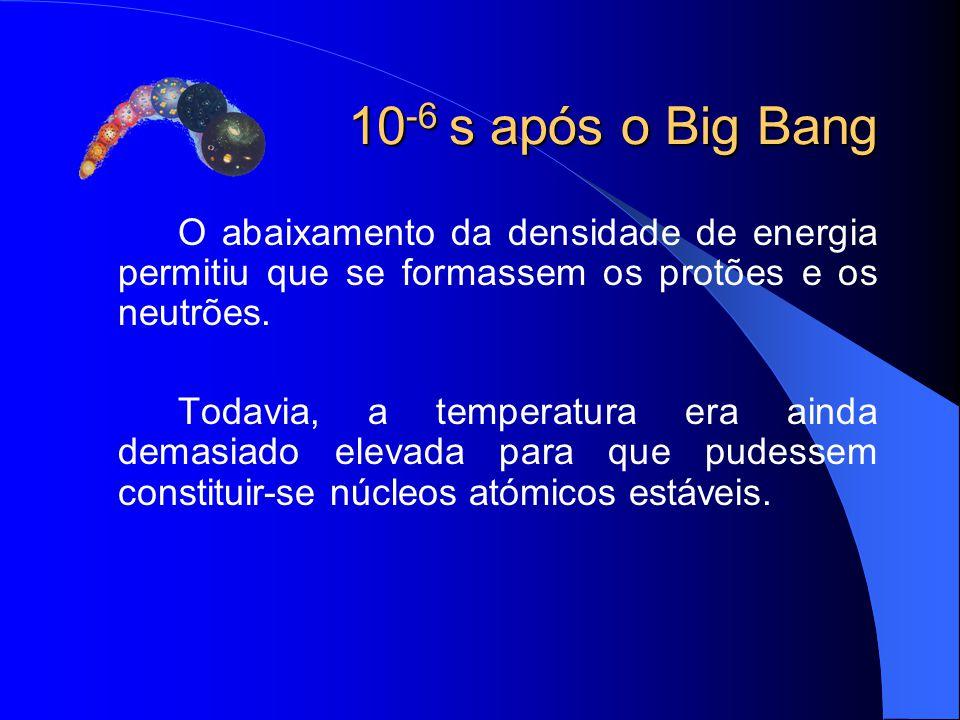 10 -6 s após o Big Bang O abaixamento da densidade de energia permitiu que se formassem os protões e os neutrões. Todavia, a temperatura era ainda dem