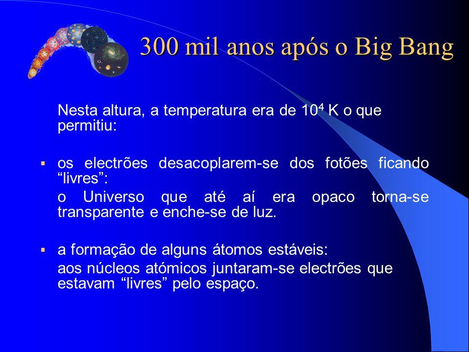 """Nesta altura, a temperatura era de 10 4 K o que permitiu:  os electrões desacoplarem-se dos fotões ficando """"livres"""": o Universo que até aí era opaco"""