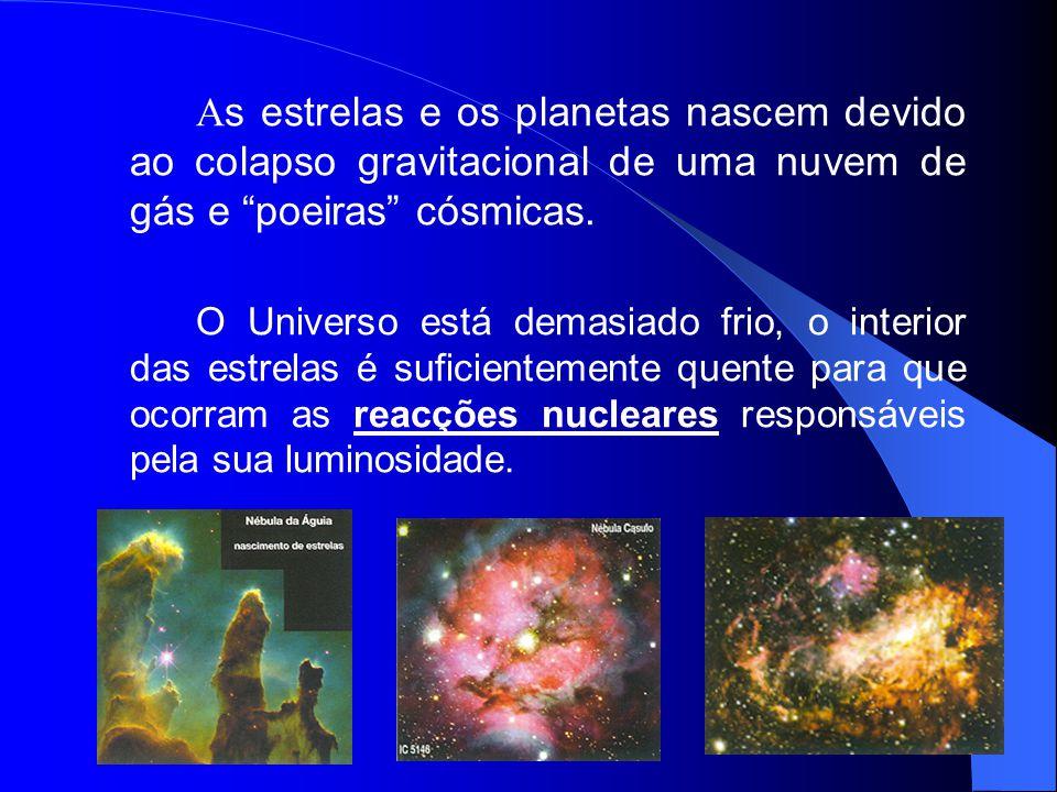 """A s estrelas e os planetas nascem devido ao colapso gravitacional de uma nuvem de gás e """"poeiras"""" cósmicas. O Universo está demasiado frio, o interior"""