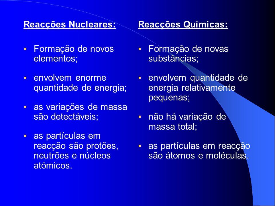 Reacções Nucleares:  Formação de novos elementos;  envolvem enorme quantidade de energia;  as variações de massa são detectáveis;  as partículas e
