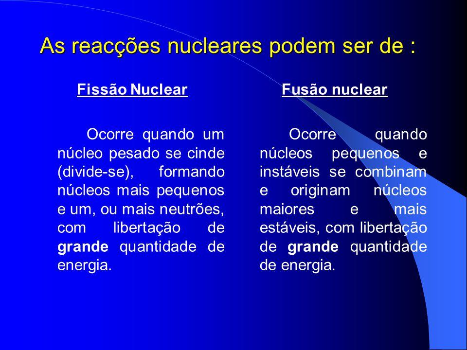 As reacções nucleares podem ser de : Fissão Nuclear Ocorre quando um núcleo pesado se cinde (divide-se), formando núcleos mais pequenos e um, ou mais
