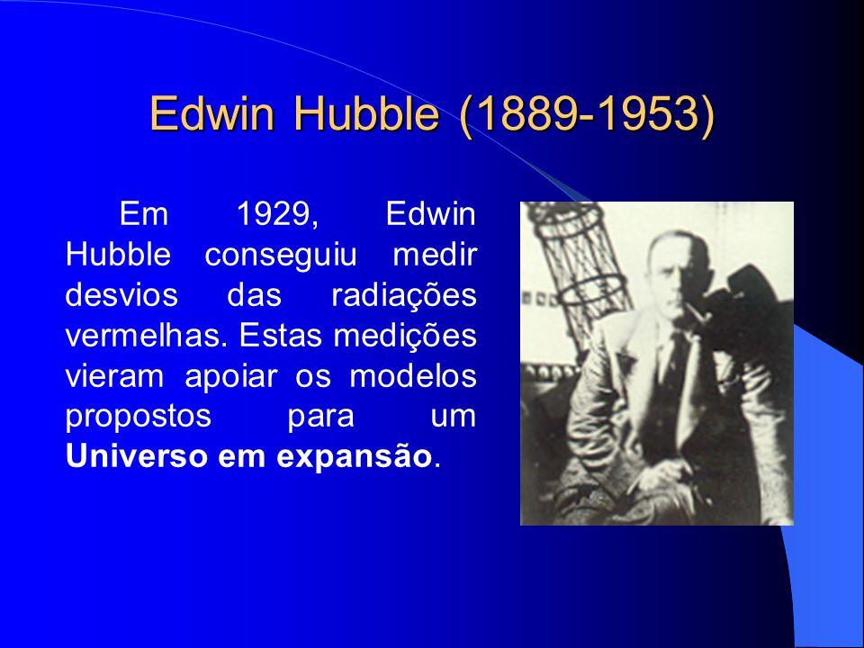 Edwin Hubble (1889-1953) Em 1929, Edwin Hubble conseguiu medir desvios das radiações vermelhas. Estas medições vieram apoiar os modelos propostos para