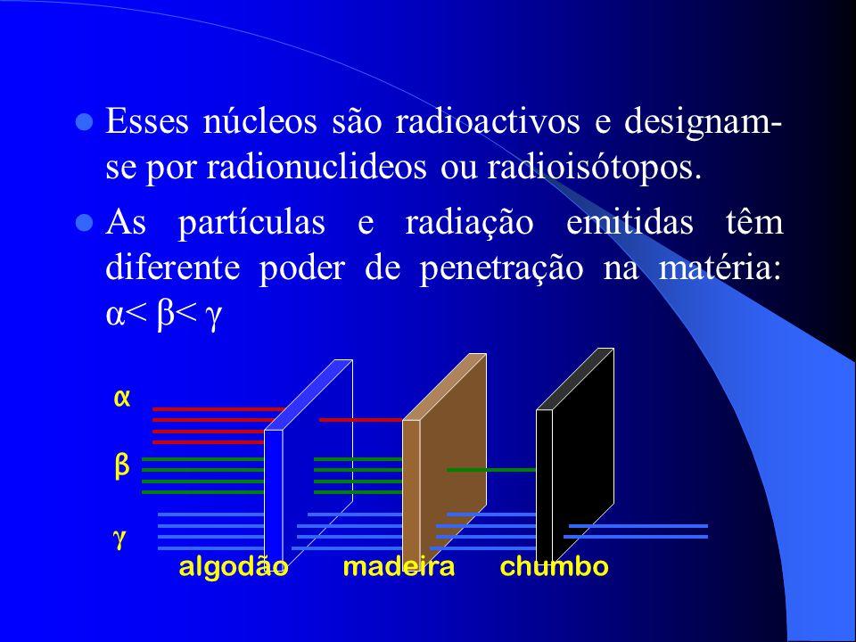 Esses núcleos são radioactivos e designam- se por radionuclideos ou radioisótopos. As partículas e radiação emitidas têm diferente poder de penetração