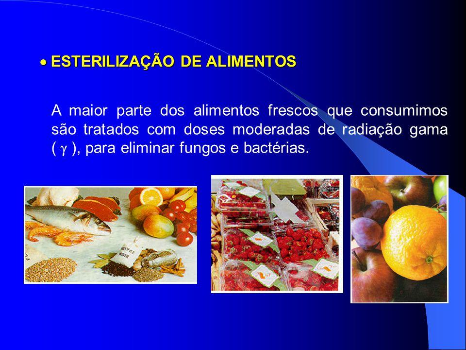  ESTERILIZAÇÃO DE ALIMENTOS A maior parte dos alimentos frescos que consumimos são tratados com doses moderadas de radiação gama (  ), para eliminar