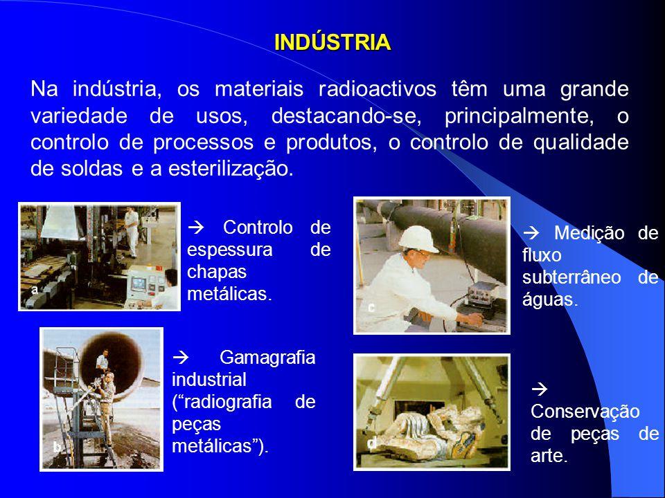 INDÚSTRIA Na indústria, os materiais radioactivos têm uma grande variedade de usos, destacando-se, principalmente, o controlo de processos e produtos,