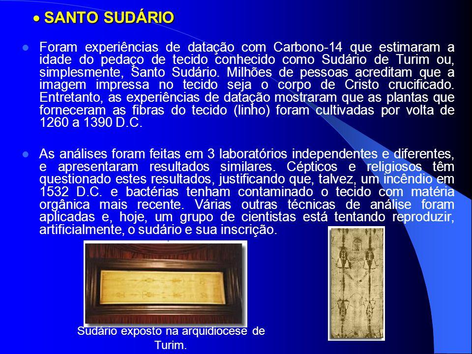  SANTO SUDÁRIO Foram experiências de datação com Carbono-14 que estimaram a idade do pedaço de tecido conhecido como Sudário de Turim ou, simplesment