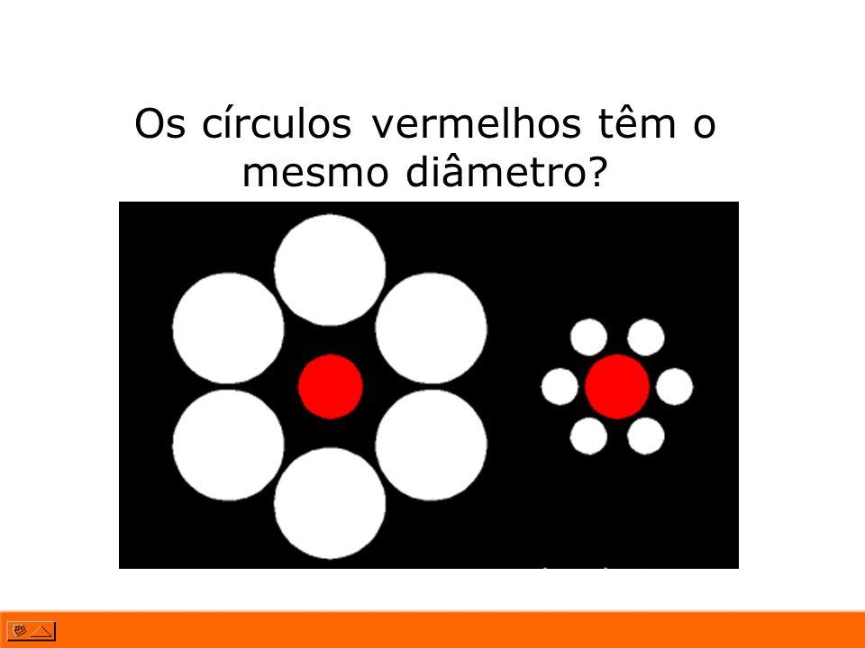Os círculos vermelhos têm o mesmo diâmetro?