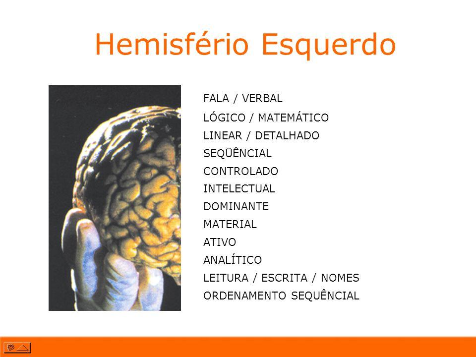 Hemisfério Esquerdo FALA / VERBAL LÓGICO / MATEMÁTICO LINEAR / DETALHADO SEQÜÊNCIAL CONTROLADO INTELECTUAL DOMINANTE MATERIAL ATIVO ANALÍTICO LEITURA