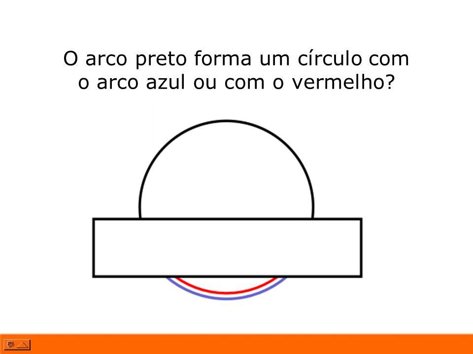 O arco preto forma um círculo com o arco azul ou com o vermelho?
