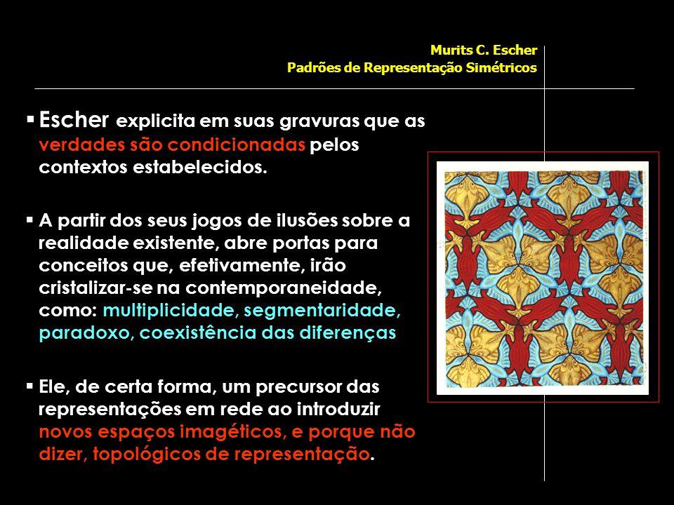  Escher explicita em suas gravuras que as verdades são condicionadas pelos contextos estabelecidos.