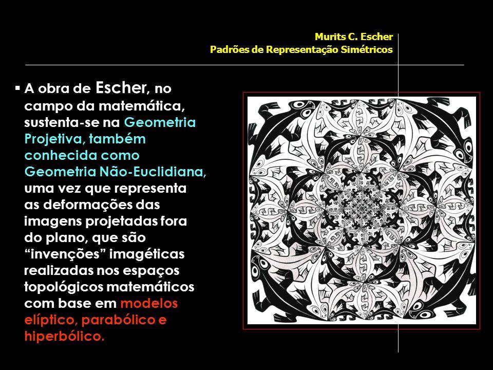  A obra de Escher, no campo da matemática, sustenta-se na Geometria Projetiva, também conhecida como Geometria Não-Euclidiana, uma vez que representa as deformações das imagens projetadas fora do plano, que são invenções imagéticas realizadas nos espaços topológicos matemáticos com base em modelos elíptico, parabólico e hiperbólico.