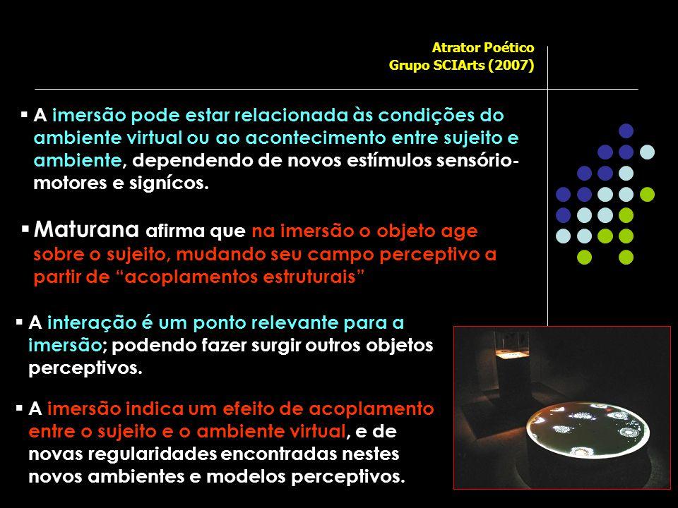  A interação é um ponto relevante para a imersão; podendo fazer surgir outros objetos perceptivos.