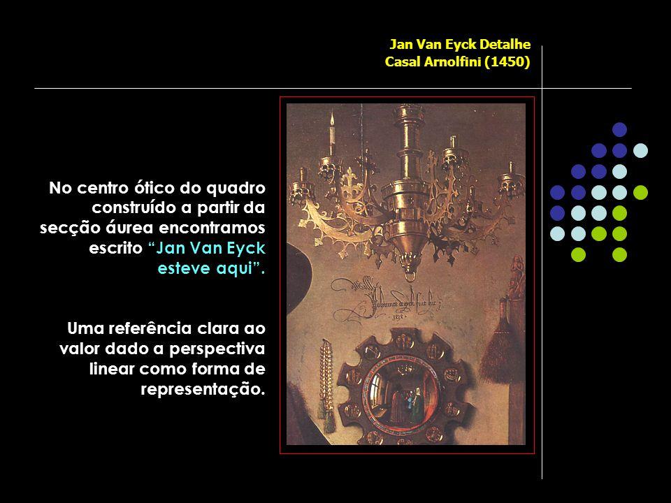 Jan Van Eyck Detalhe Casal Arnolfini (1450) No centro ótico do quadro construído a partir da secção áurea encontramos escrito Jan Van Eyck esteve aqui .