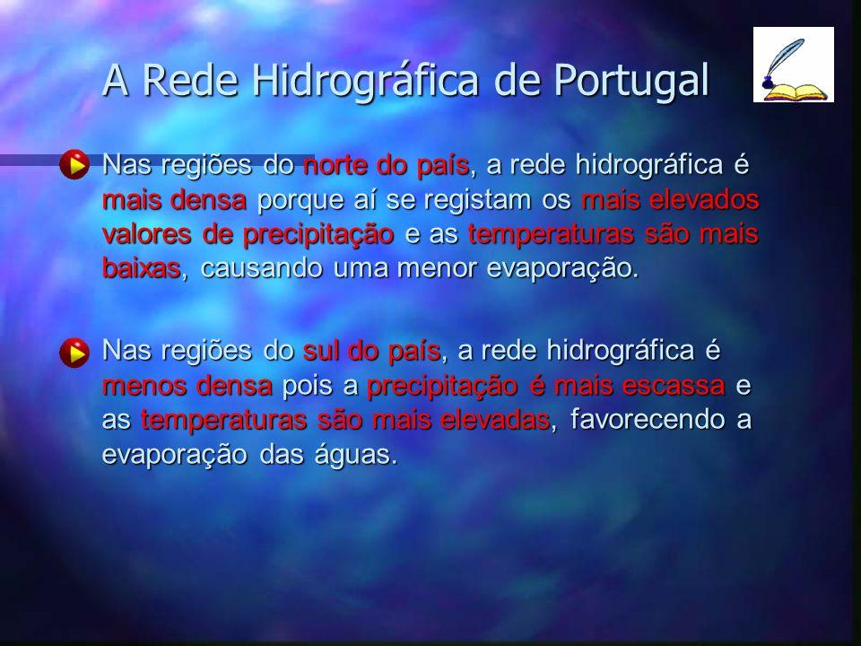 A Rede Hidrográfica de Portugal Nas regiões do norte do país, a rede hidrográfica é mais densa porque aí se registam os mais elevados valores de preci
