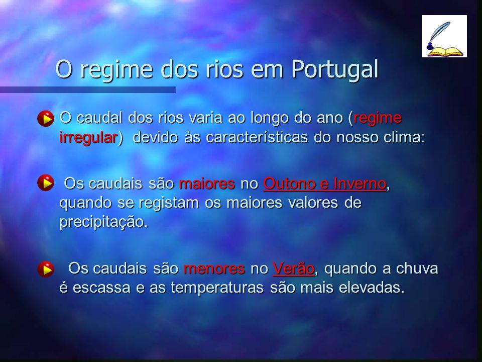 O regime dos rios em Portugal O caudal dos rios varia ao longo do ano (regime irregular) devido às características do nosso clima:O caudal dos rios va