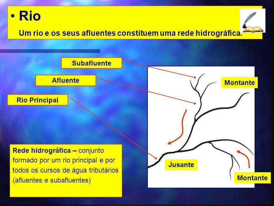 Rio Um rio e os seus afluentes constituem uma rede hidrográfica. Rio Principal Jusante Montante Afluente Subafluente Rede hidrográfica – conjunto form