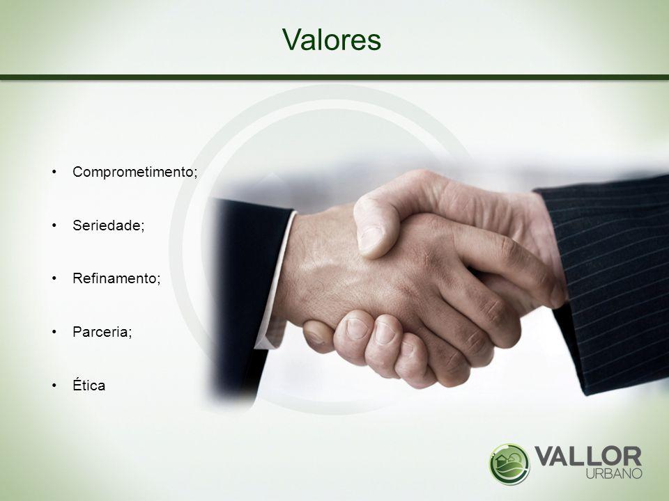 Valores Comprometimento; Seriedade; Refinamento; Parceria; Ética