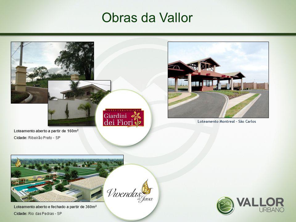 Obras da Vallor Loteamento aberto a partir de 160m 2 Cidade: Ribeirão Preto - SP Loteamento aberto e fechado a partir de 360m 2 Cidade: Rio das Pedras
