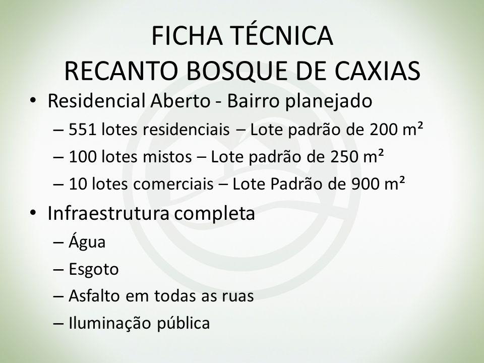 FICHA TÉCNICA RECANTO BOSQUE DE CAXIAS Residencial Aberto - Bairro planejado – 551 lotes residenciais – Lote padrão de 200 m² – 100 lotes mistos – Lot