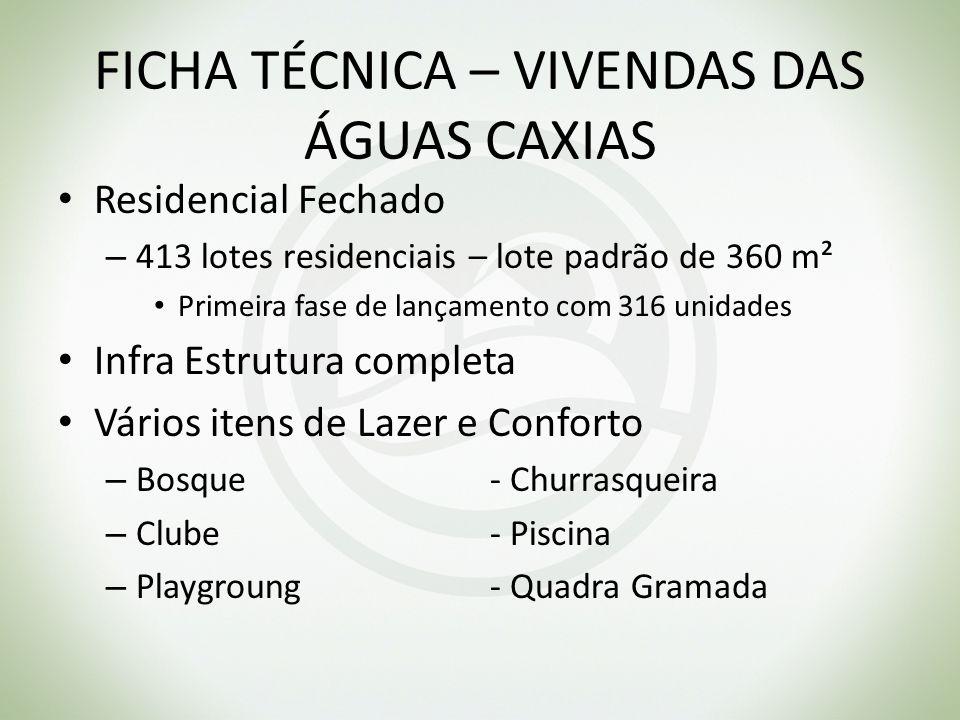 FICHA TÉCNICA – VIVENDAS DAS ÁGUAS CAXIAS Residencial Fechado – 413 lotes residenciais – lote padrão de 360 m² Primeira fase de lançamento com 316 uni