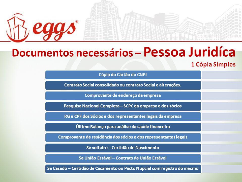 Documentos necessários – Pessoa Juridíca 1 Cópia Simples Cópia do Cartão do CNPJContrato Social consolidado ou contrato Social e alterações. Comprovan