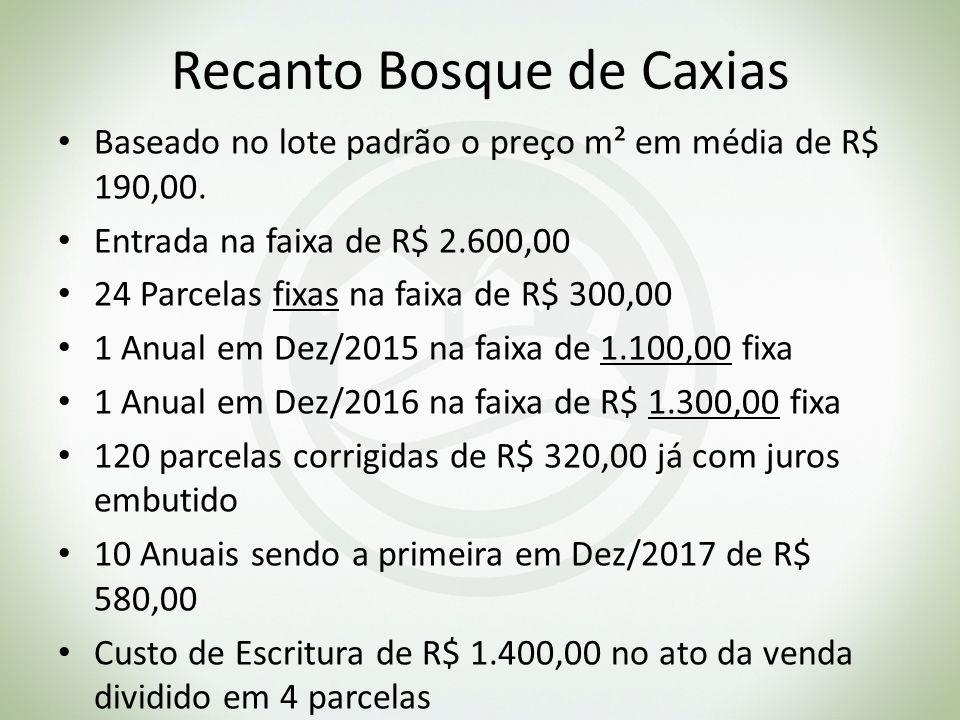 Recanto Bosque de Caxias Baseado no lote padrão o preço m² em média de R$ 190,00. Entrada na faixa de R$ 2.600,00 24 Parcelas fixas na faixa de R$ 300