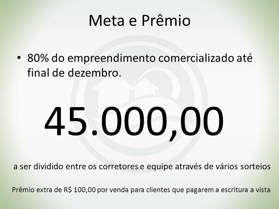 Meta e Prêmio 80% do empreendimento comercializado até final de dezembro. 45.000,00 a ser dividido entre os corretores e equipe através de vários sort