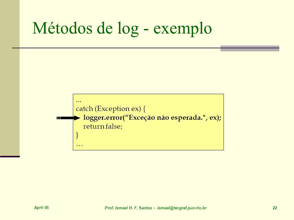April 05 Prof. Ismael H. F. Santos - ismael@tecgraf.puc-rio.br 22 Métodos de log - exemplo...