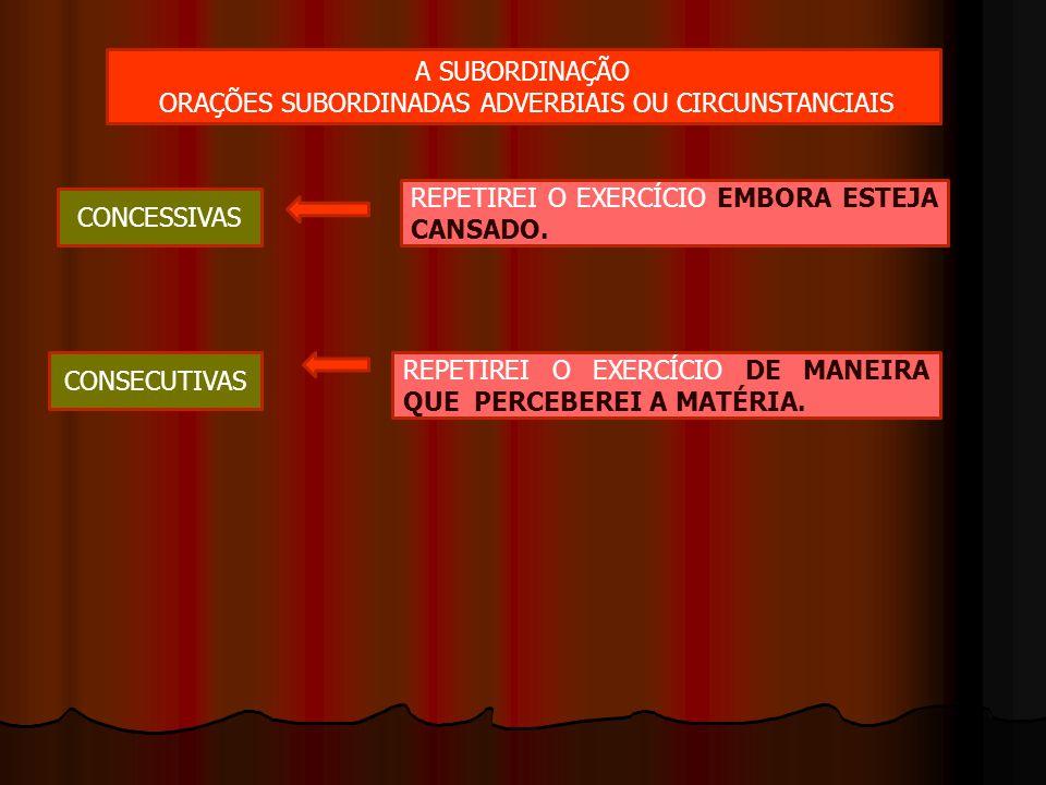 A SUBORDINAÇÃO ORAÇÕES SUBORDINADAS ADVERBIAIS OU CIRCUNSTANCIAIS CONCESSIVAS REPETIREI O EXERCÍCIO EMBORA ESTEJA CANSADO. CONSECUTIVAS REPETIREI O EX
