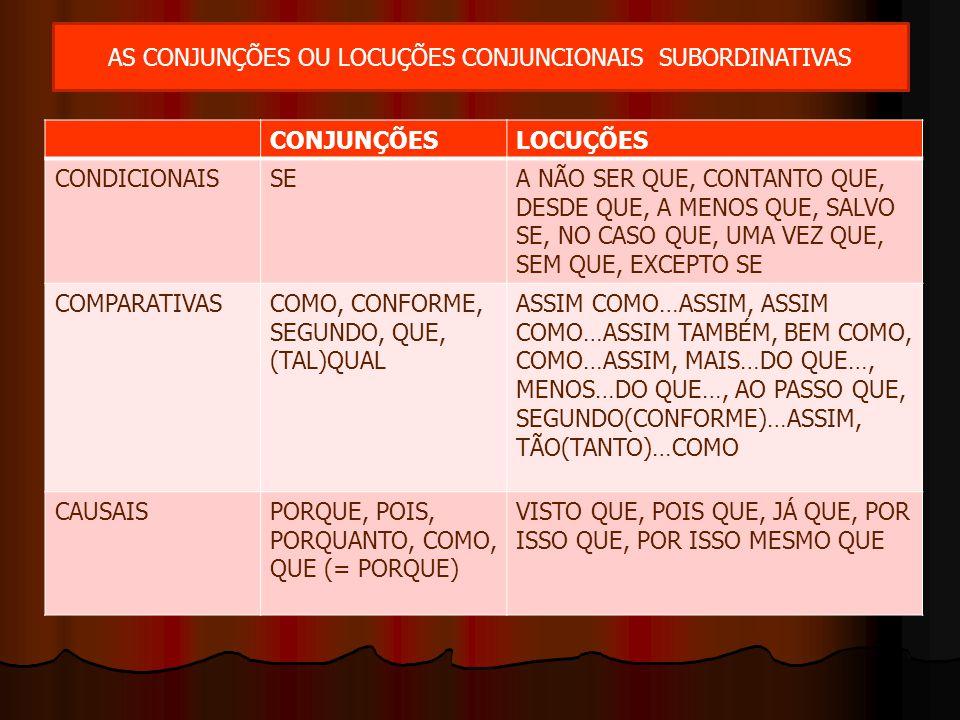 AS CONJUNÇÕES OU LOCUÇÕES CONJUNCIONAIS SUBORDINATIVAS CONJUNÇÕESLOCUÇÕES CONDICIONAISSEA NÃO SER QUE, CONTANTO QUE, DESDE QUE, A MENOS QUE, SALVO SE,