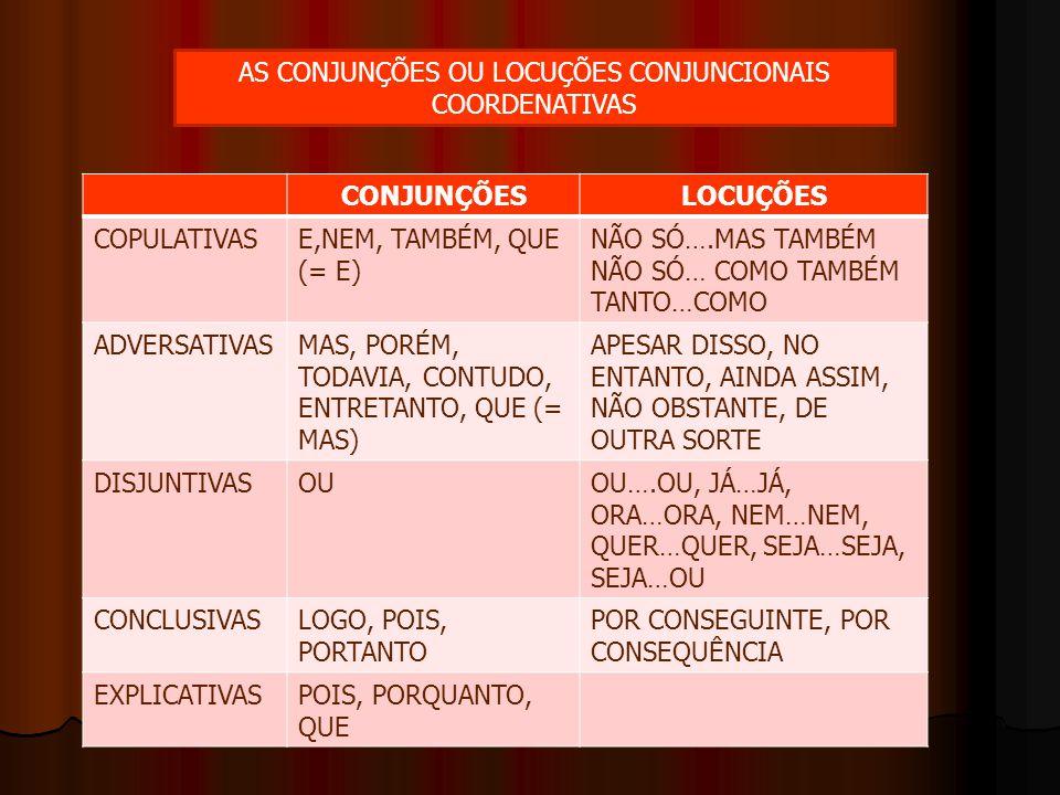 AS CONJUNÇÕES OU LOCUÇÕES CONJUNCIONAIS COORDENATIVAS CONJUNÇÕESLOCUÇÕES COPULATIVASE,NEM, TAMBÉM, QUE (= E) NÃO SÓ….MAS TAMBÉM NÃO SÓ… COMO TAMBÉM TA