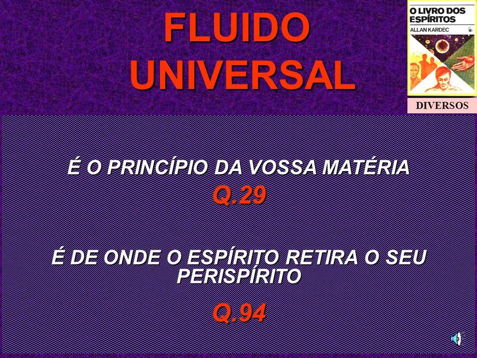 É O PRINCÍPIO DA VOSSA MATÉRIA Q.29 É DE ONDE O ESPÍRITO RETIRA O SEU PERISPÍRITO Q.94FLUIDO UNIVERSAL UNIVERSAL DIVERSOS