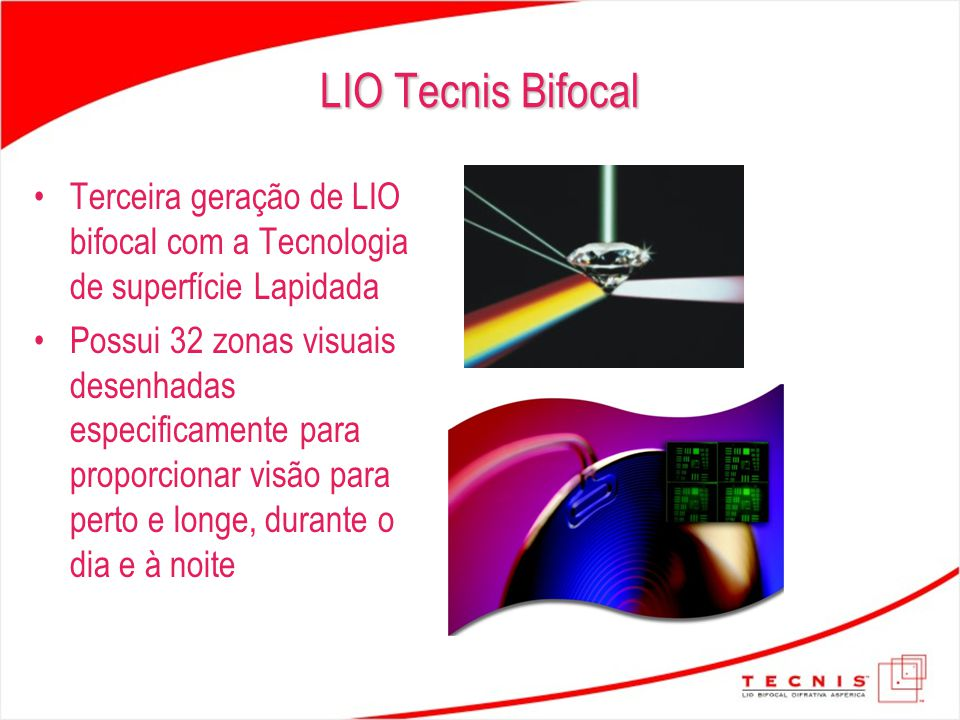 LIO Tecnis Bifocal Terceira geração de LIO bifocal com a Tecnologia de superfície Lapidada Possui 32 zonas visuais desenhadas especificamente para pro