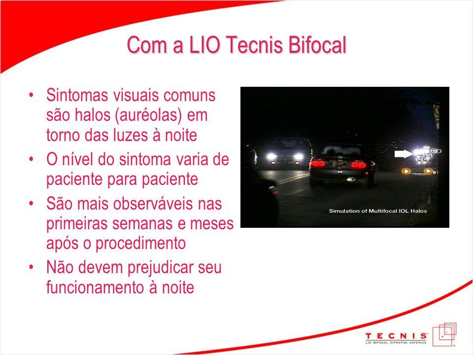 Com a LIO Tecnis Bifocal Sintomas visuais comuns são halos (auréolas) em torno das luzes à noite O nível do sintoma varia de paciente para paciente Sã