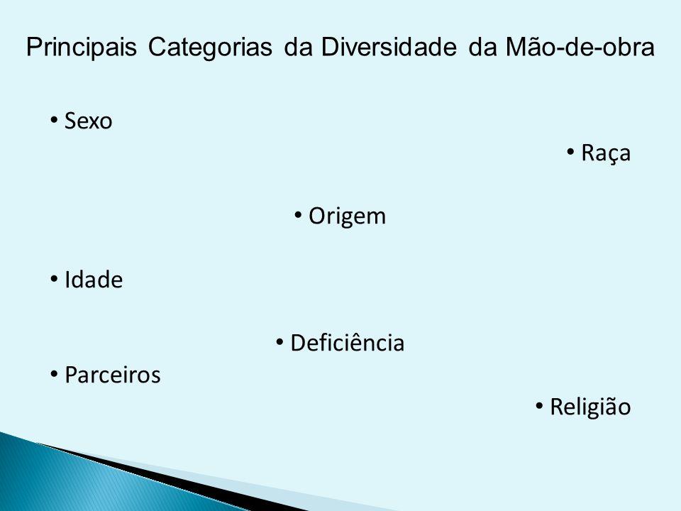 Principais Categorias da Diversidade da Mão-de-obra Sexo Raça Origem Idade Deficiência Parceiros Religião