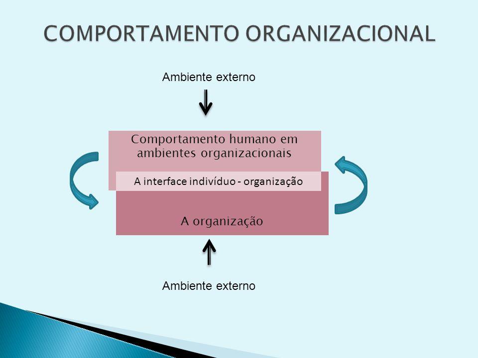 Comportamento humano em ambientes organizacionais A organização Ambiente externo A interface indivíduo - organização