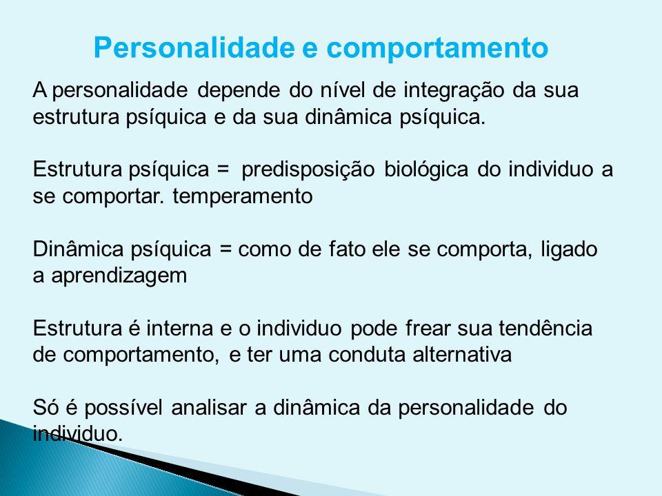 Personalidade e comportamento A personalidade depende do nível de integração da sua estrutura psíquica e da sua dinâmica psíquica. Estrutura psíquica