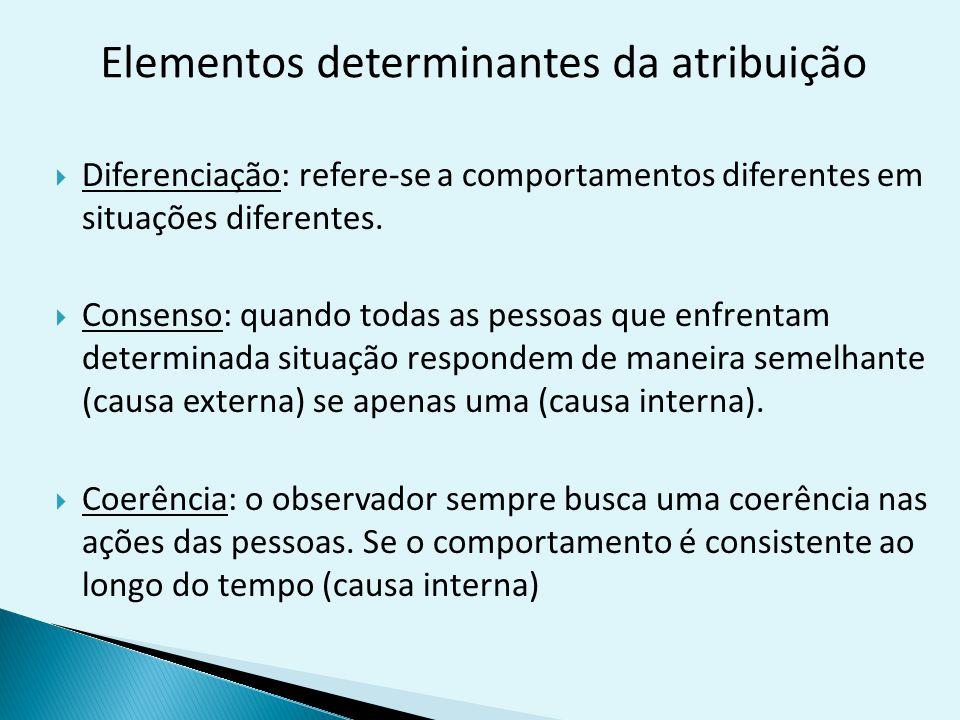 Elementos determinantes da atribuição  Diferenciação: refere-se a comportamentos diferentes em situações diferentes.  Consenso: quando todas as pess