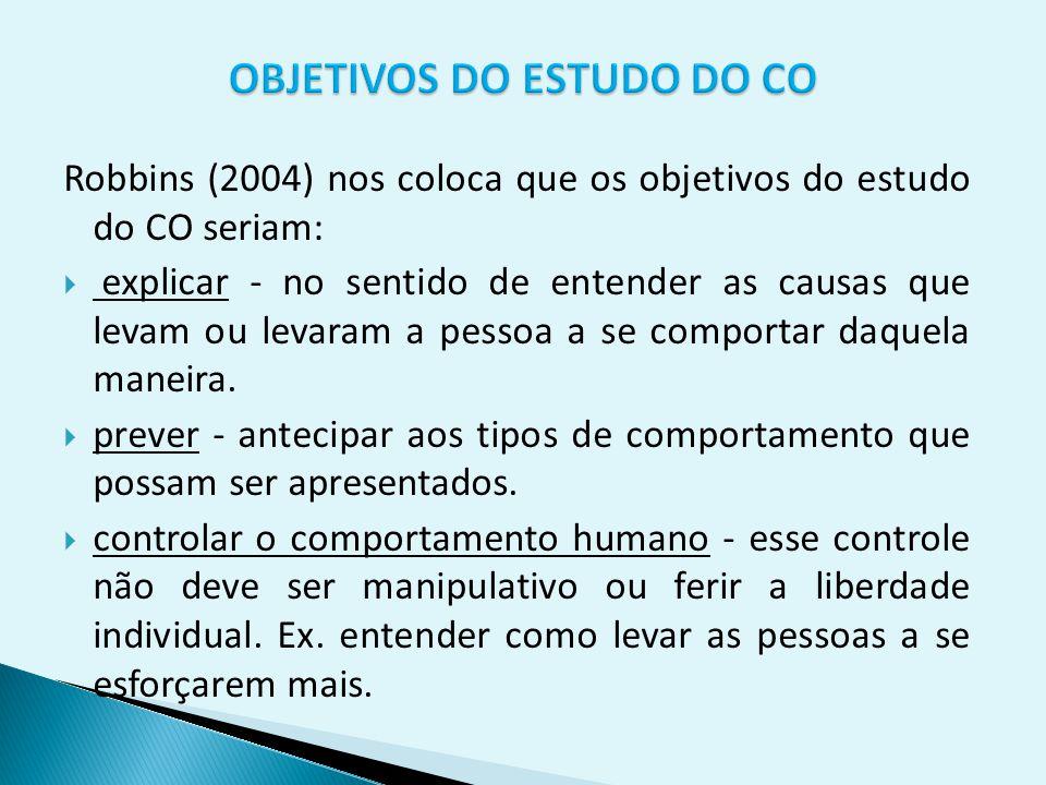 Robbins (2004) nos coloca que os objetivos do estudo do CO seriam:  explicar - no sentido de entender as causas que levam ou levaram a pessoa a se co
