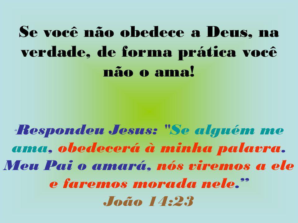 """Se você não obedece a Deus, na verdade, de forma prática você não o ama! """" Respondeu Jesus:"""
