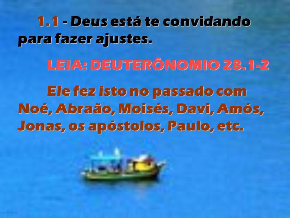 1.1 - Deus está te convidando para fazer ajustes. LEIA: DEUTERÔNOMIO 28.1-2 Ele fez isto no passado com Noé, Abraão, Moisés, Davi, Amós, Jonas, os apó