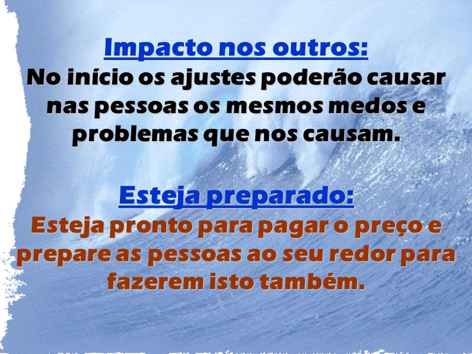 Impacto nos outros: No início os ajustes poderão causar nas pessoas os mesmos medos e problemas que nos causam. Esteja preparado: Esteja pronto para p