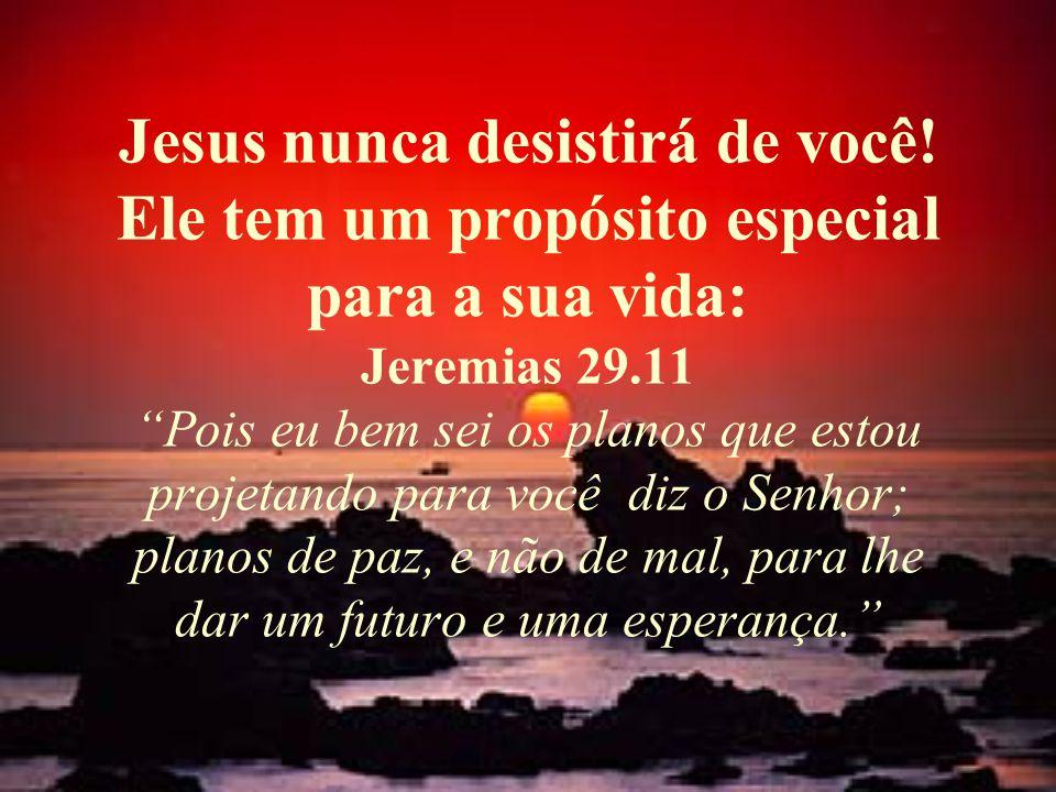 """Jesus nunca desistirá de você! Ele tem um propósito especial para a sua vida: Jeremias 29.11 """"Pois eu bem sei os planos que estou projetando para você"""