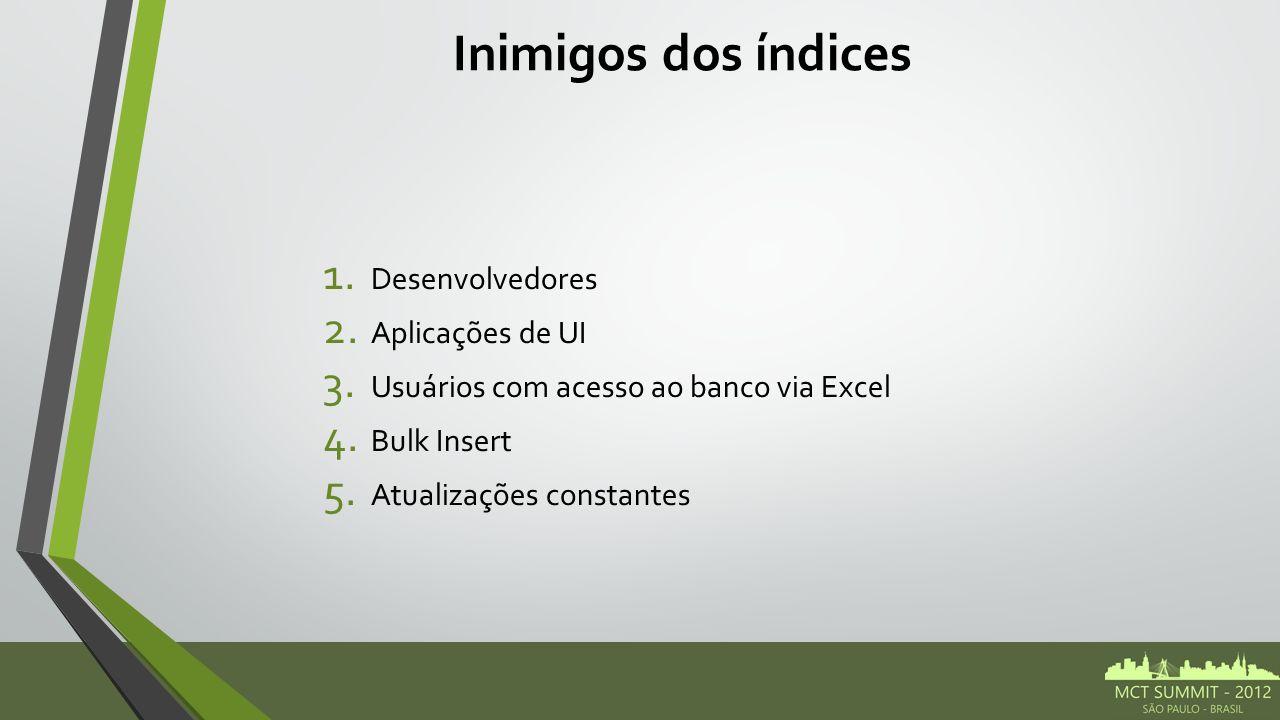 Inimigos dos índices 1. Desenvolvedores 2. Aplicações de UI 3. Usuários com acesso ao banco via Excel 4. Bulk Insert 5. Atualizações constantes
