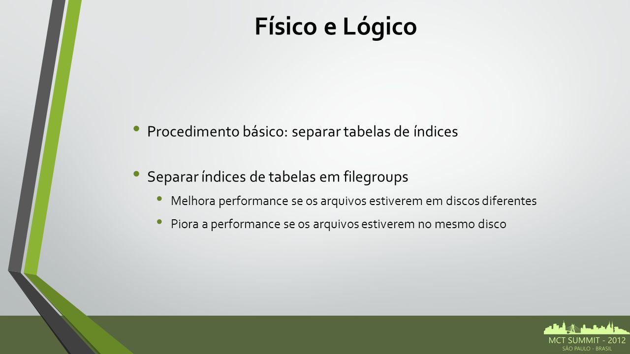 Físico e Lógico Procedimento básico: separar tabelas de índices Separar índices de tabelas em filegroups Melhora performance se os arquivos estiverem em discos diferentes Piora a performance se os arquivos estiverem no mesmo disco